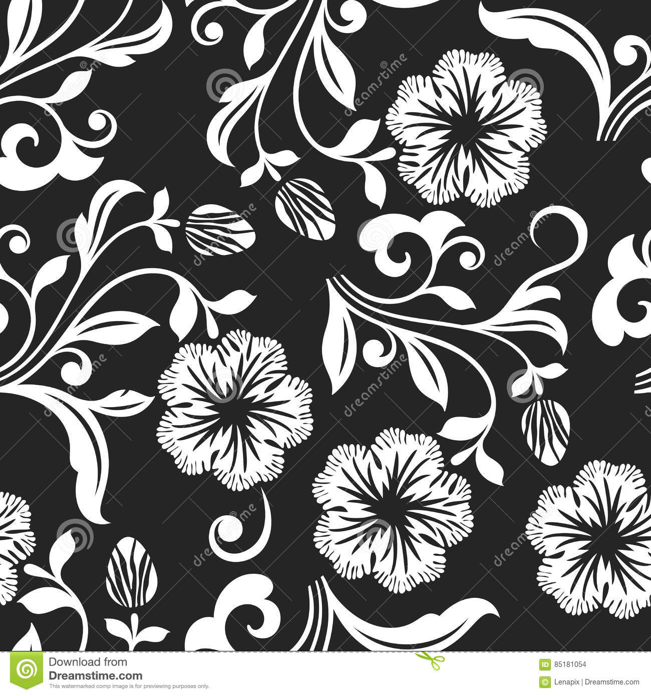 Seamless black and white flower background