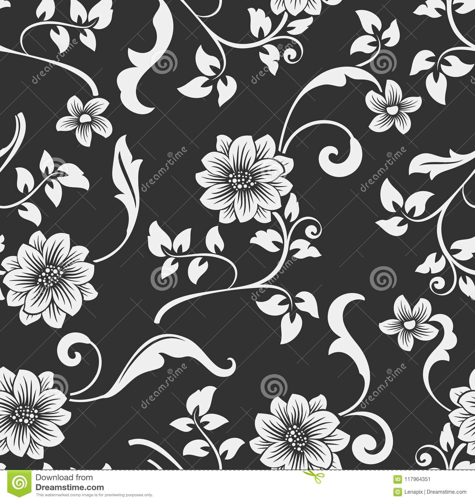 Seamless black and white flower pattern stock vector illustration seamless black and white flower vector pattern seamless wrapping paper textile or upholstery flower print mightylinksfo