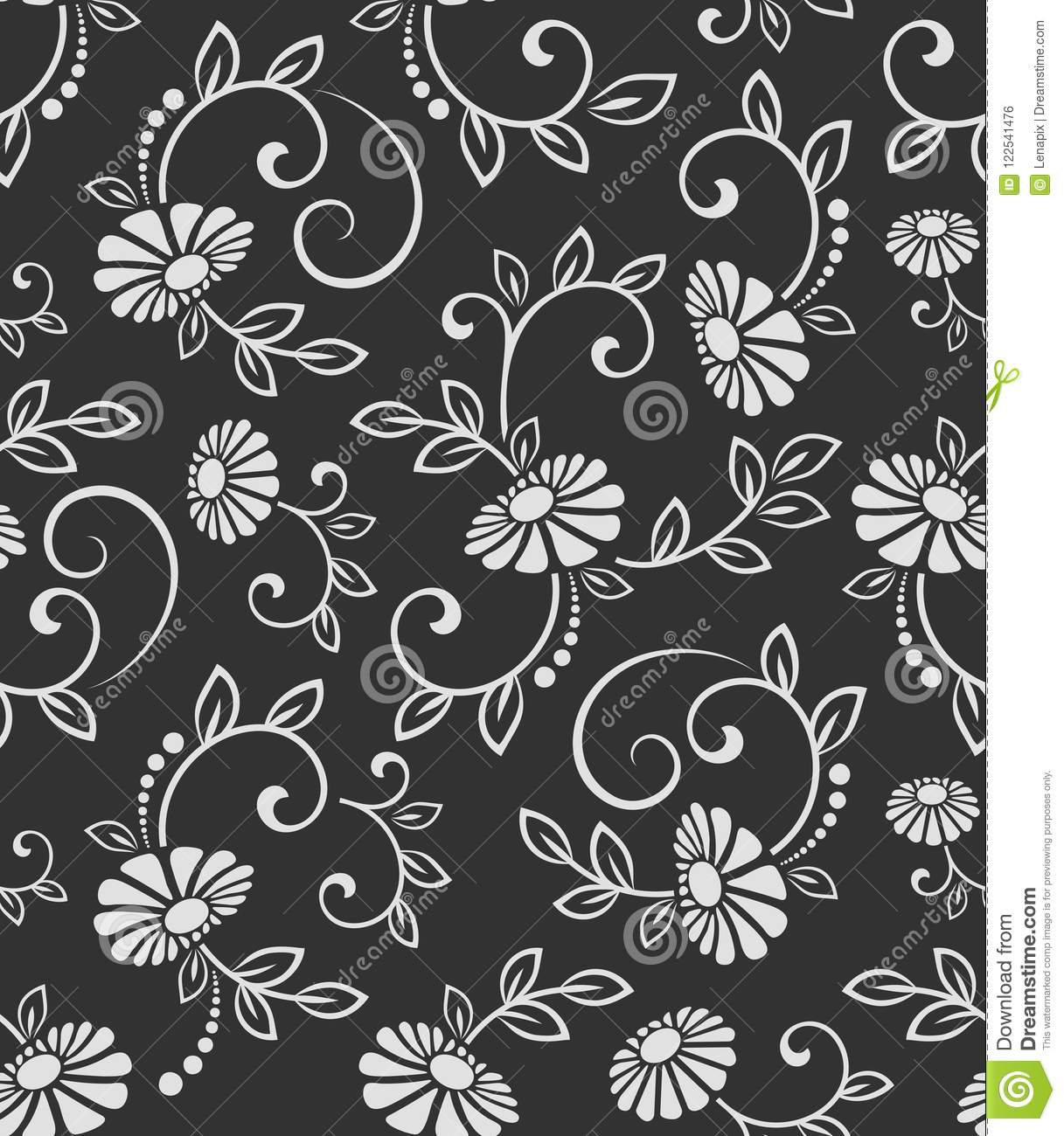 Seamless black and white flower vector pattern seamless wrapping paper textile or upholstery flower print