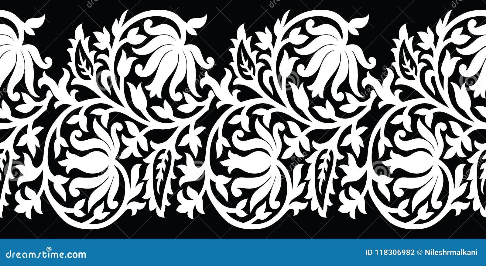 Seamless Black And White Lotus Flower Border Stock Vector