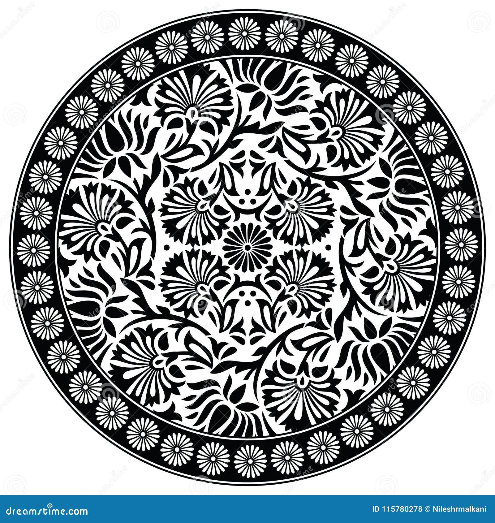 Seamless Black And White Lotus Flower Motif Stock Vector
