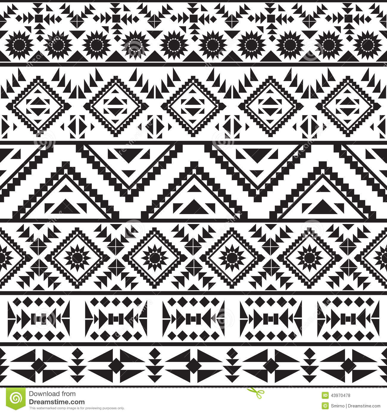 Seamless Black And White Navajo Pattern Stock Vector ...