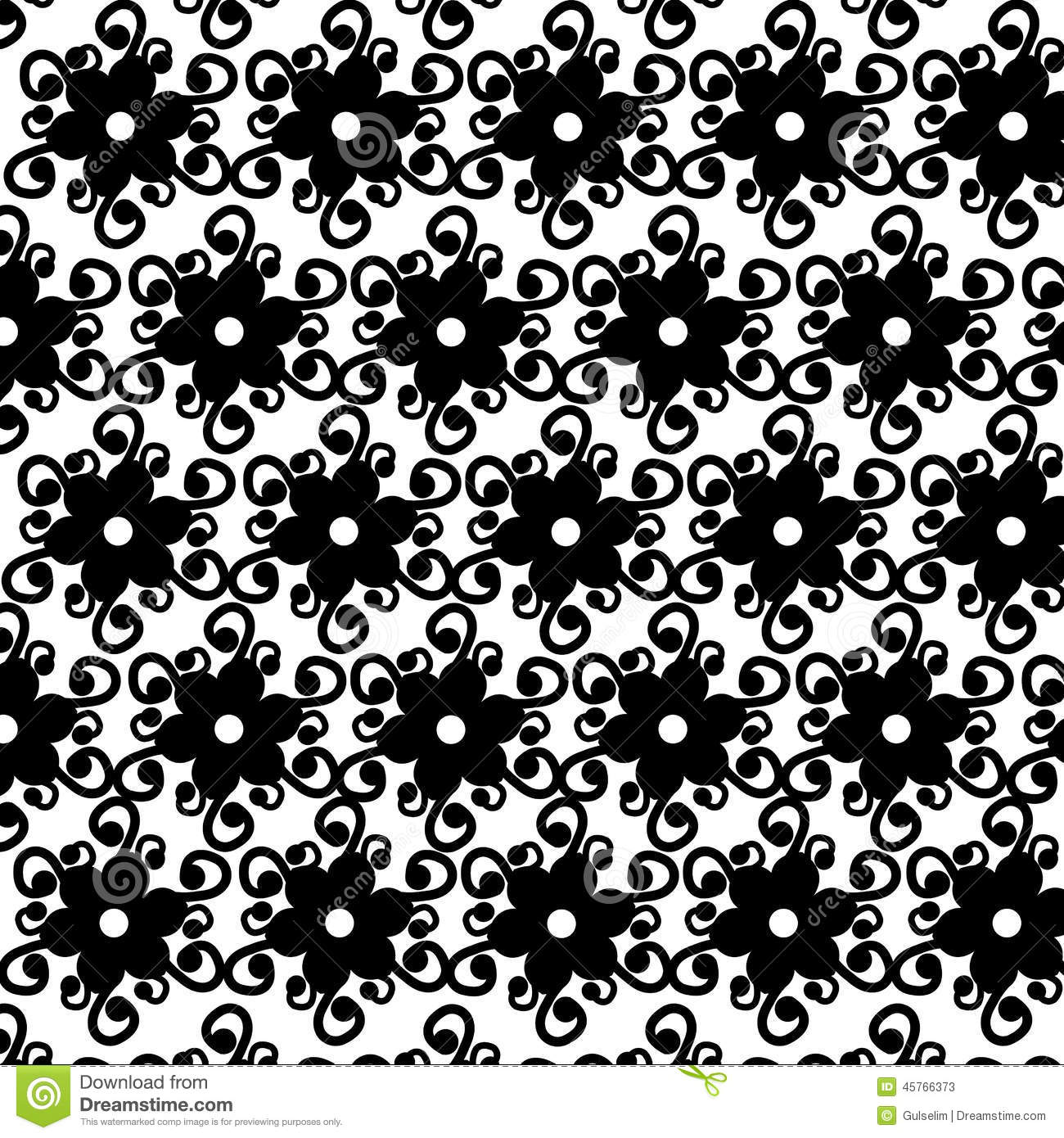 Black and white ornaments - Background Black Ornaments Pattern Seamless Vector White