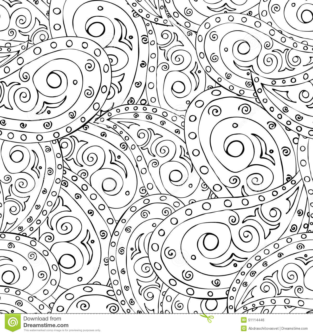 Seamless Black And White Paisley Stock Vector Image