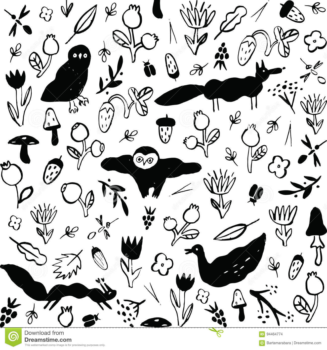 Seamless black and white pattern with animals, flowers, berries, mushrooms and insects.