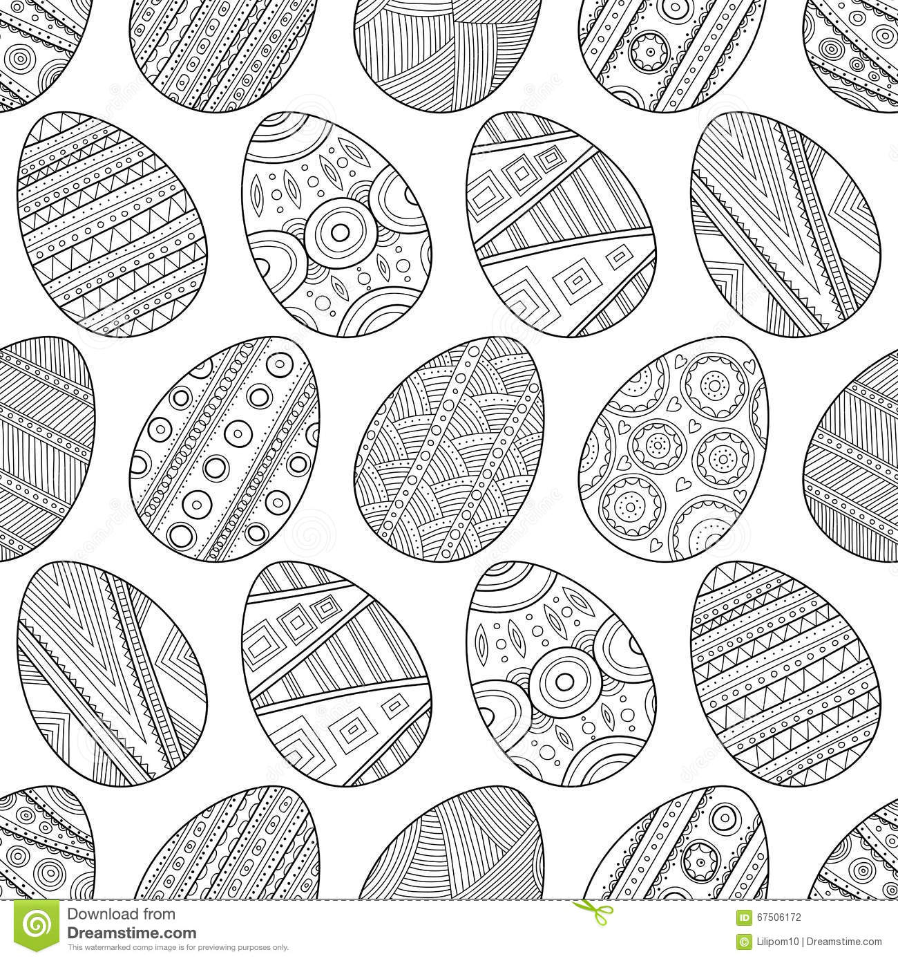 zentangle easter eggs for coloring book for stock vector