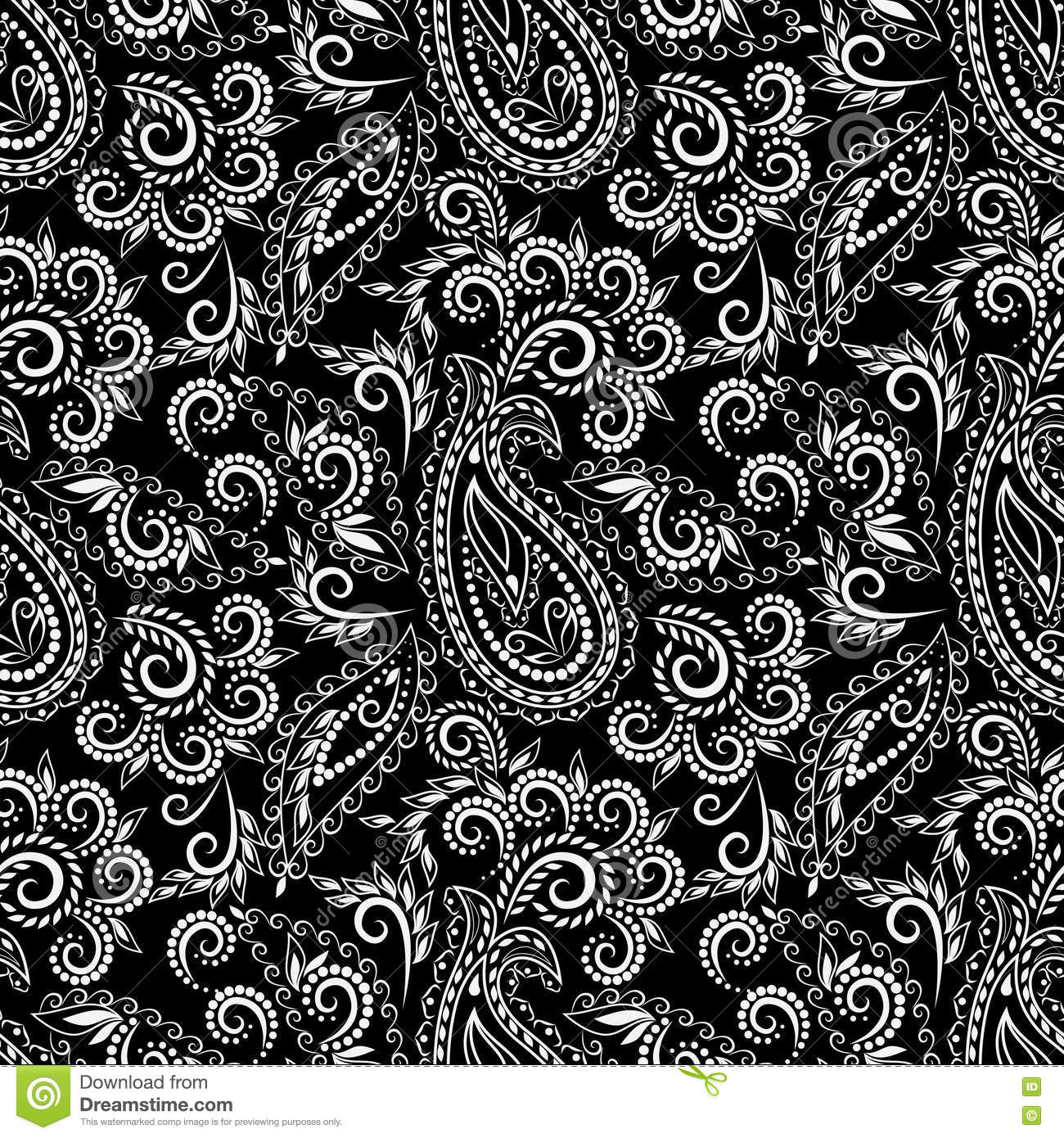 Seamless Black And White Pattern With Paisley And Flowers Stock