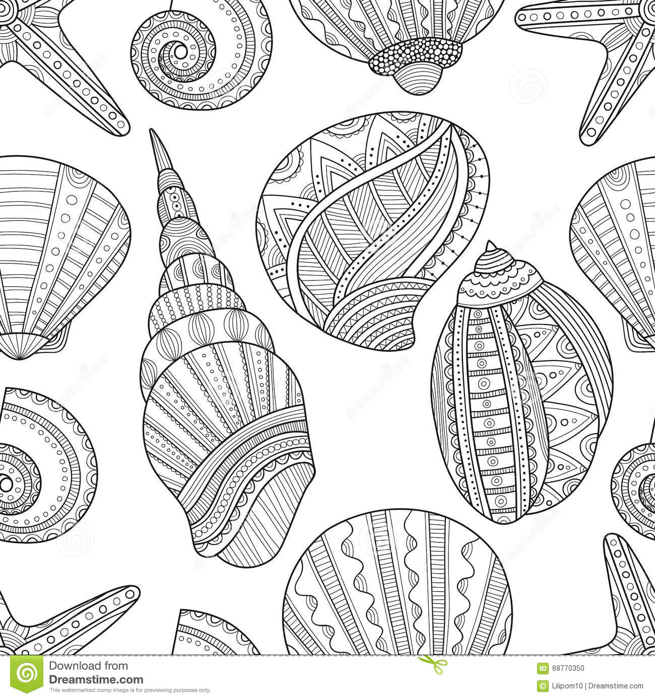 seamless black and white pattern of seashells to coloring book