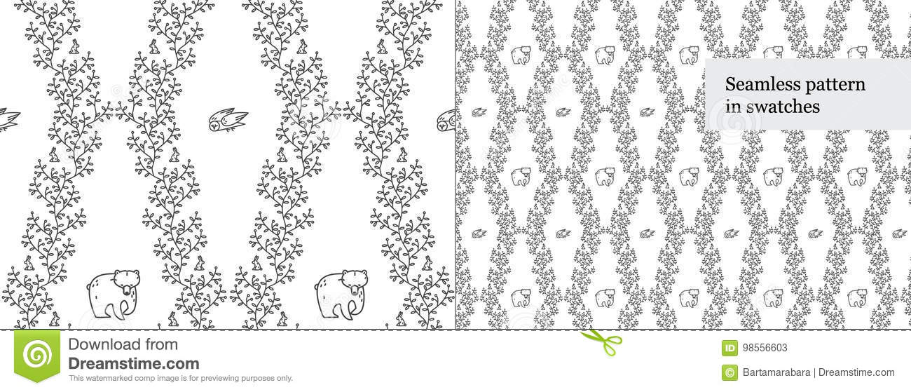 Seamless black-and-white rhomboid pattern with forest animals