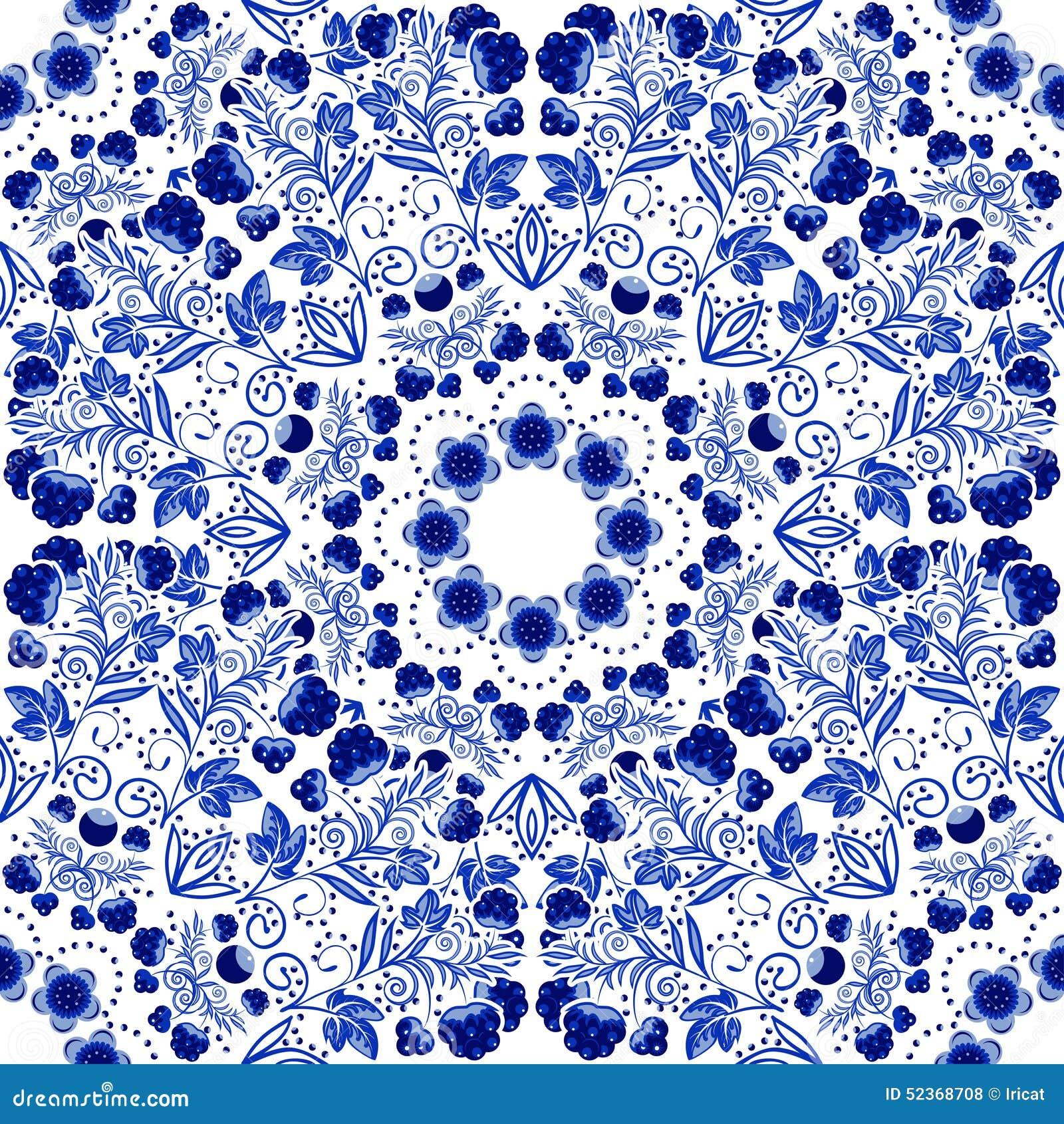 Seamless blom- modell Blå prydnad av bär och blommor i stilen av kinesisk målning på porslin