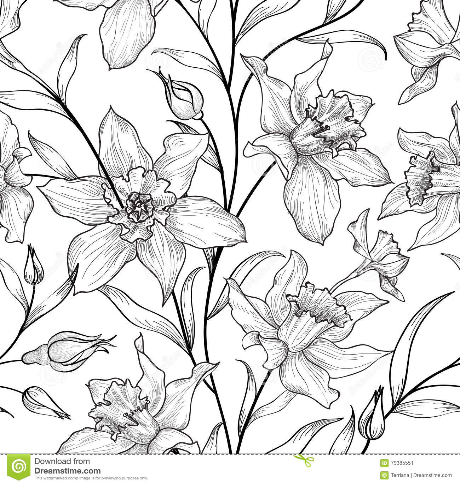 Seamless blom- modell Svartvit bakgrund för blomma flor