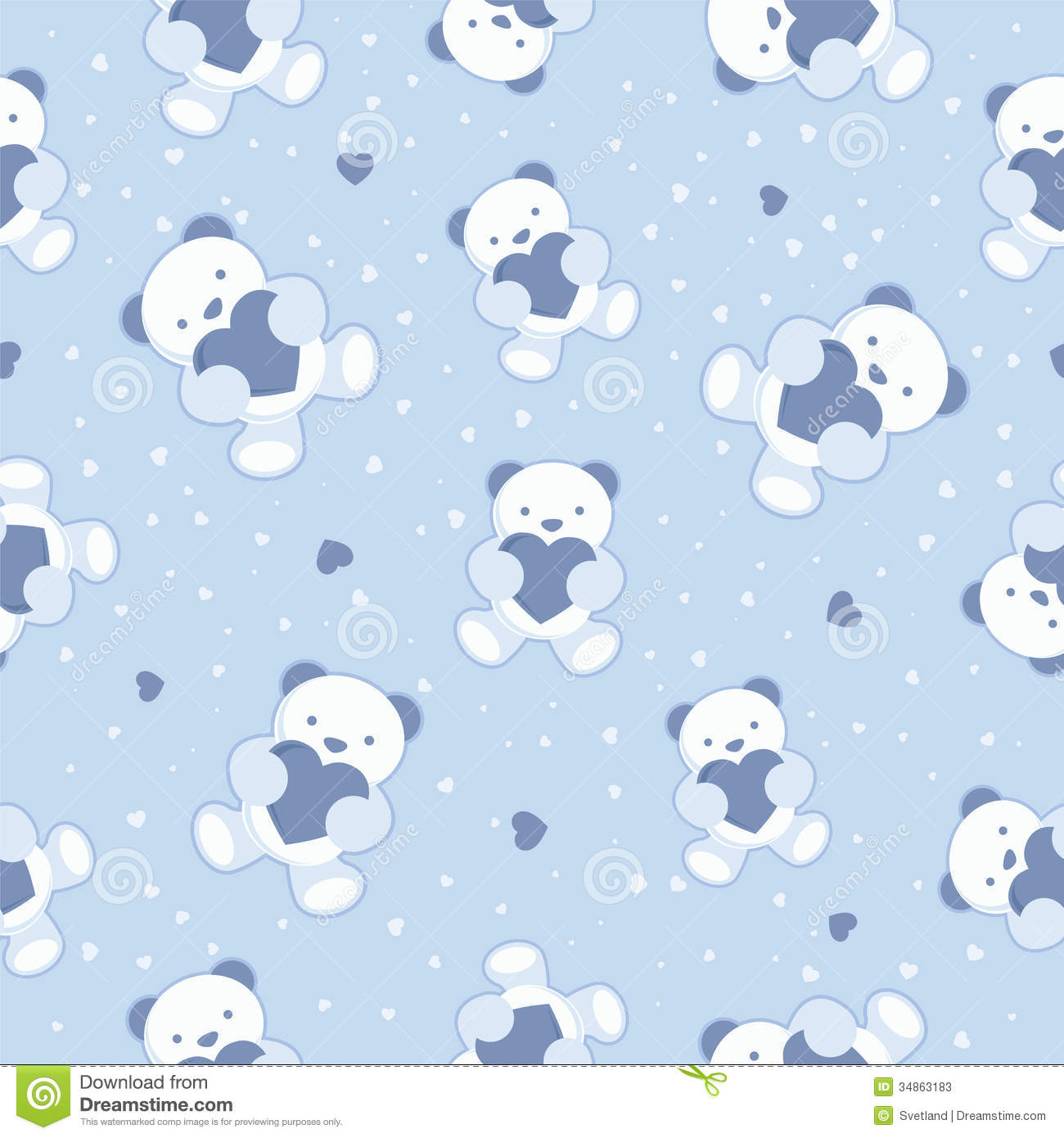Seamless Blue Baby Background With Teddy Bear And Royalty Free Illustration