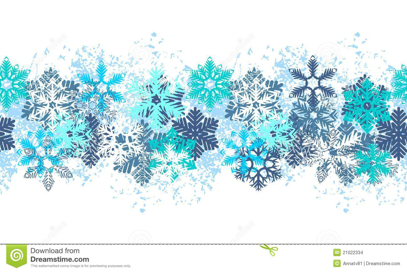 Seamless Blue Border With Snowflakes Stock Images - Image: 21022334