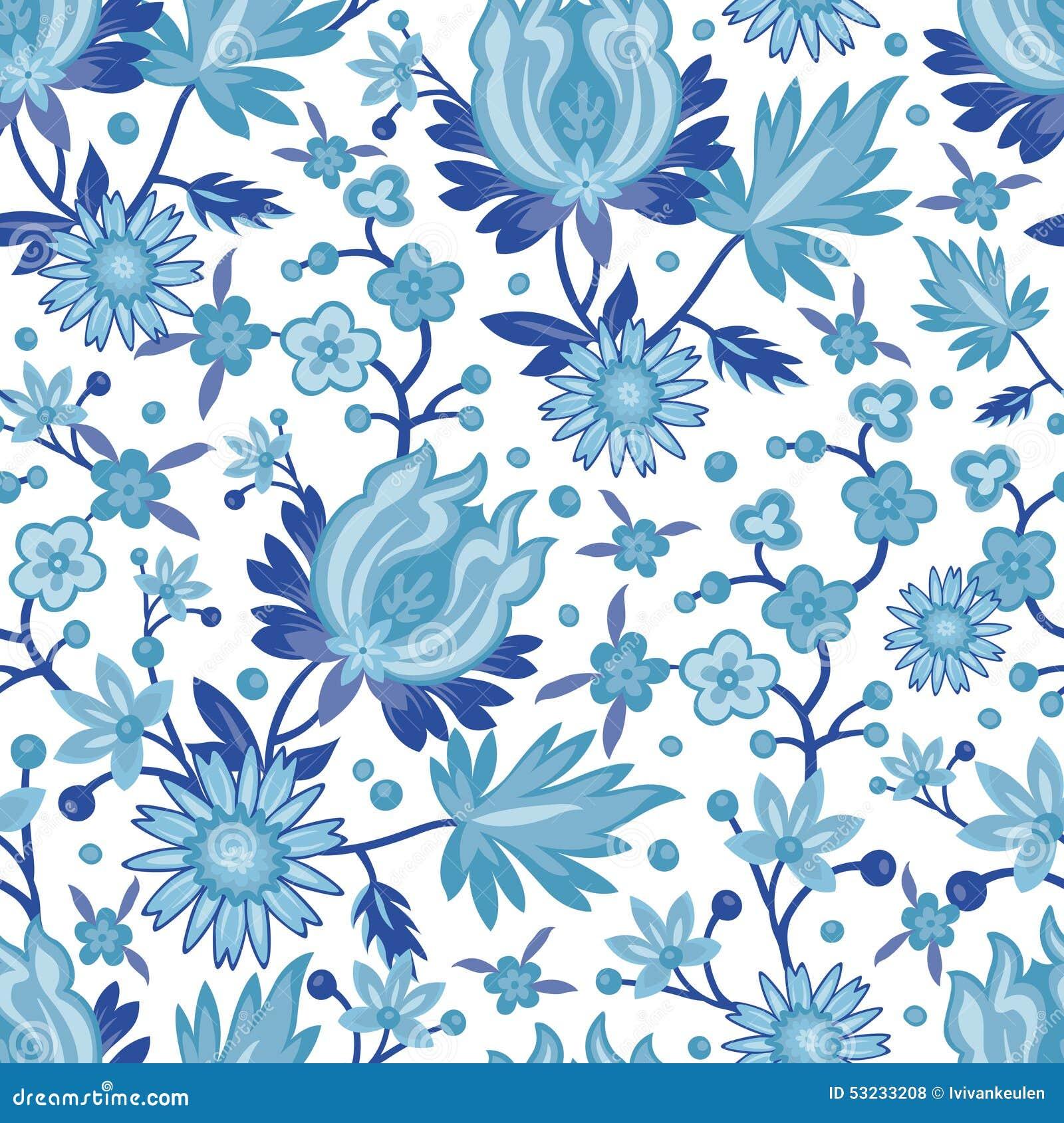 Seamless Blue China Pattern Stock Vector Image 53233208