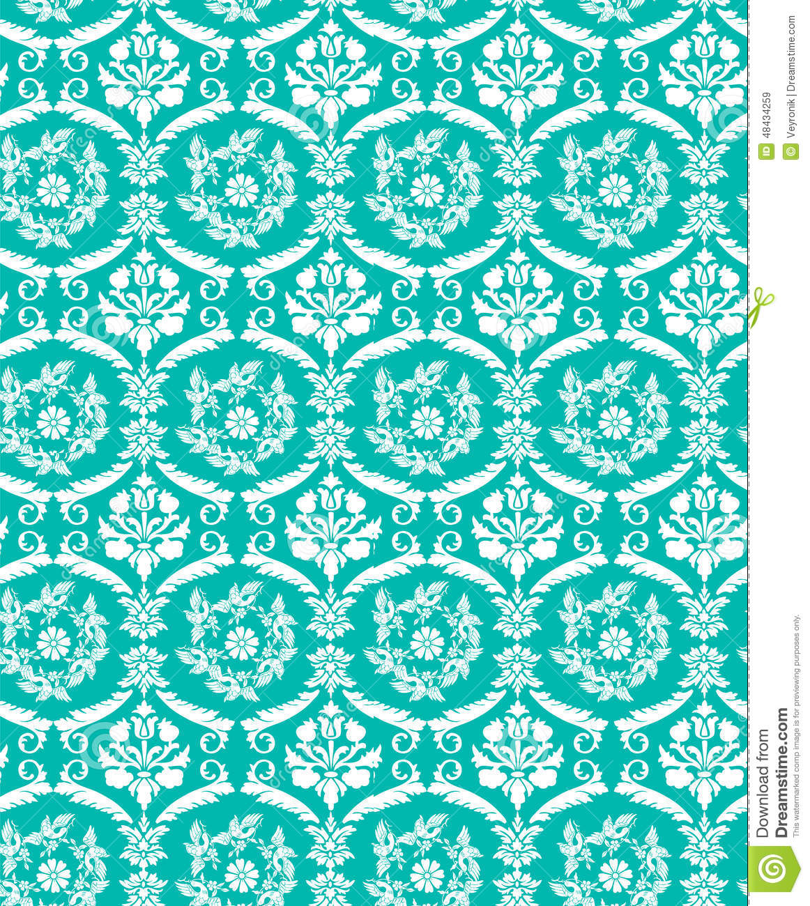 Seamless Blue Damask Bird Pattern Stock Vector Image