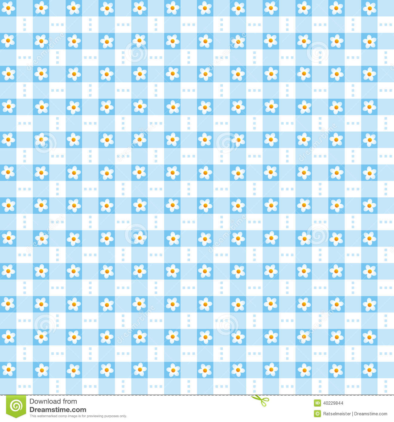 seamless blue floral gingham background stock vector