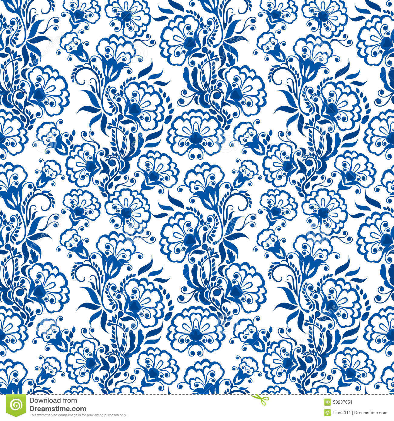 Seamless Blue Floral Pattern Background Or Russian Gzhel