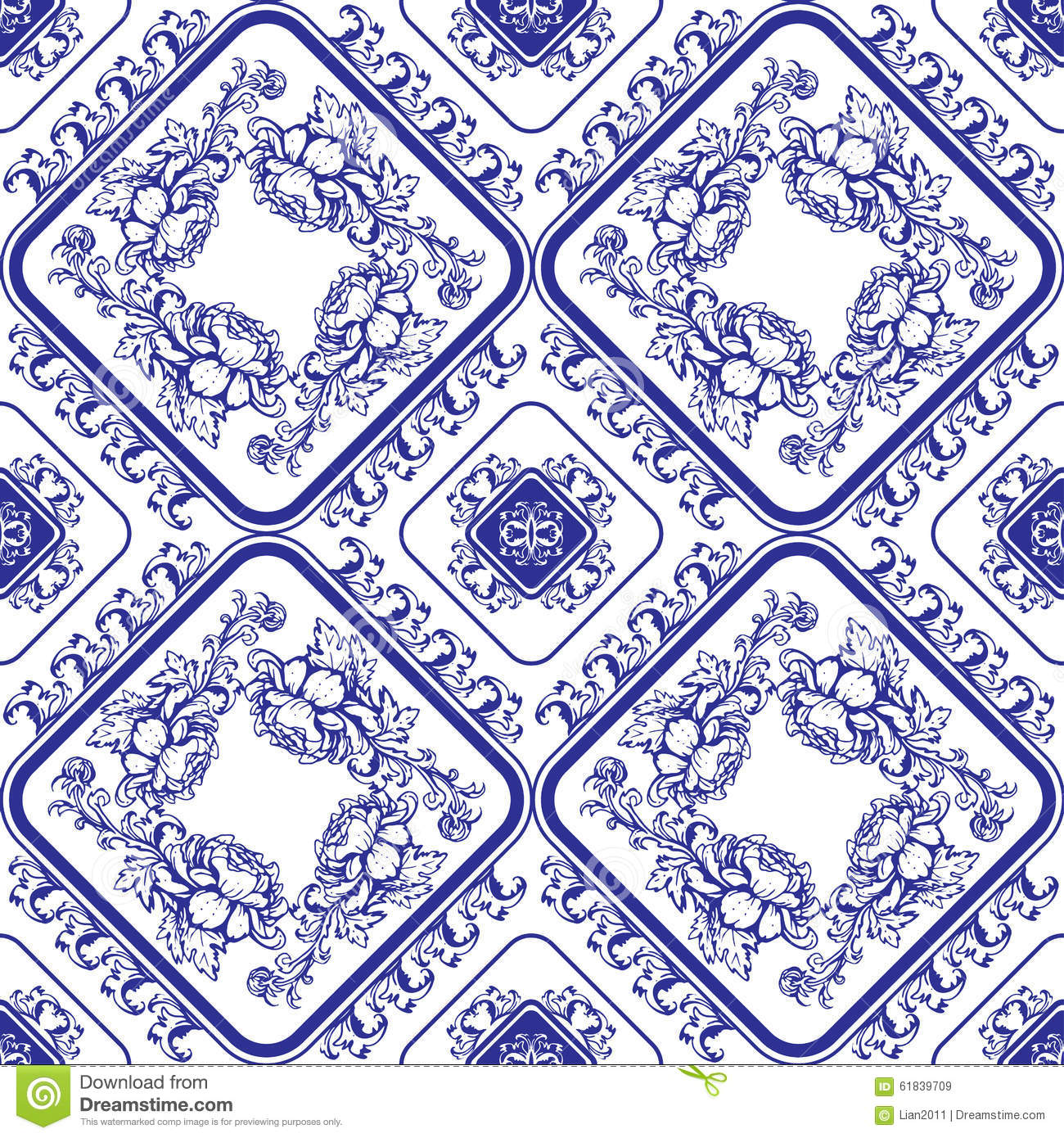 Seamless blue floral pattern. Background in the style of Chinese