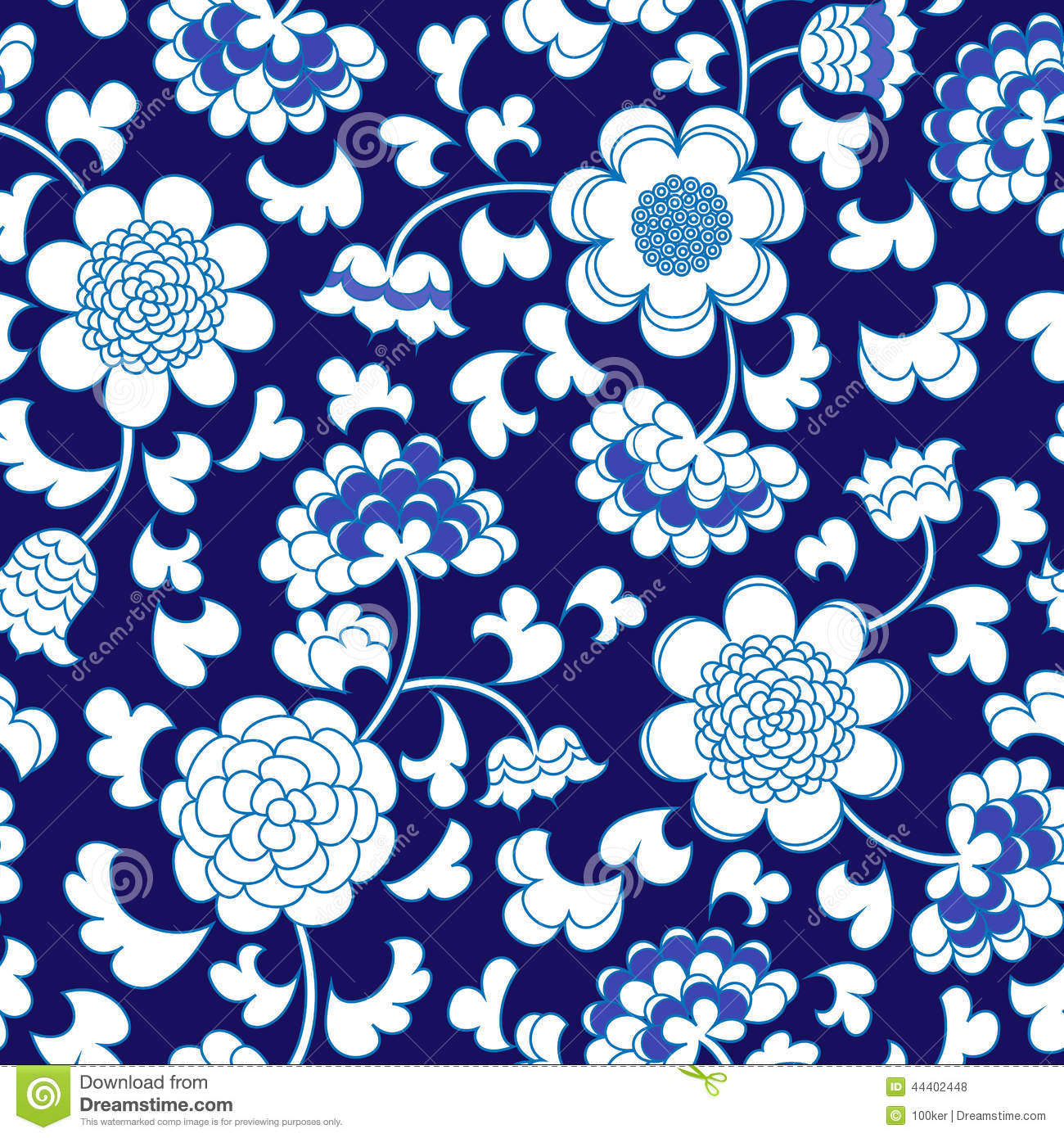 Seamless Blue Floral Porcelain China Background Stock