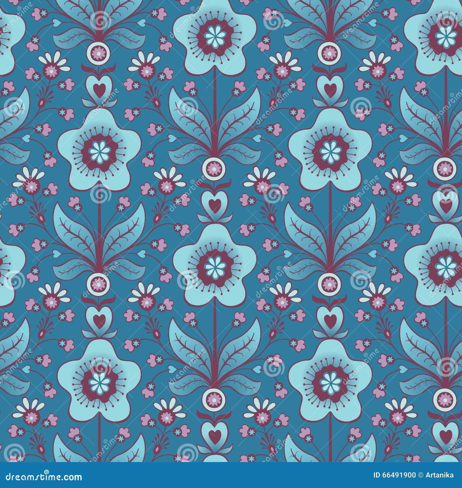 Seamless blue flower background