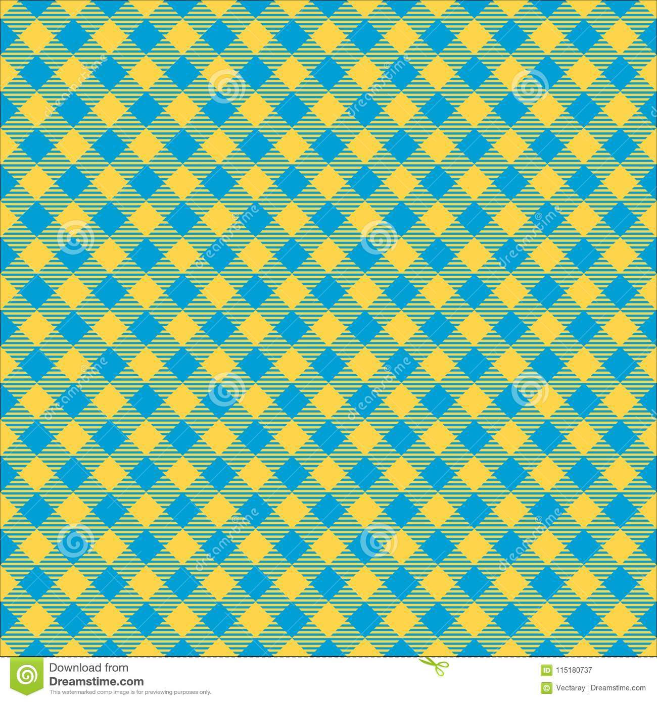 Seamless Blue And Lime Green Diagonal Checkered Fabric Pattern Background Texture