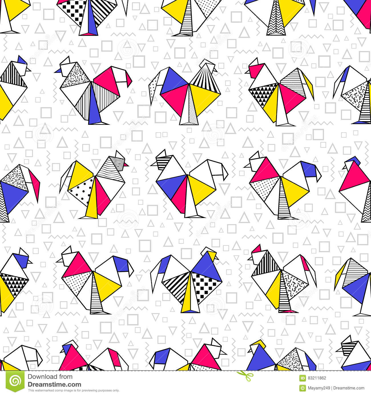 Seamless Boho With Origami Rooster Stock Illustration