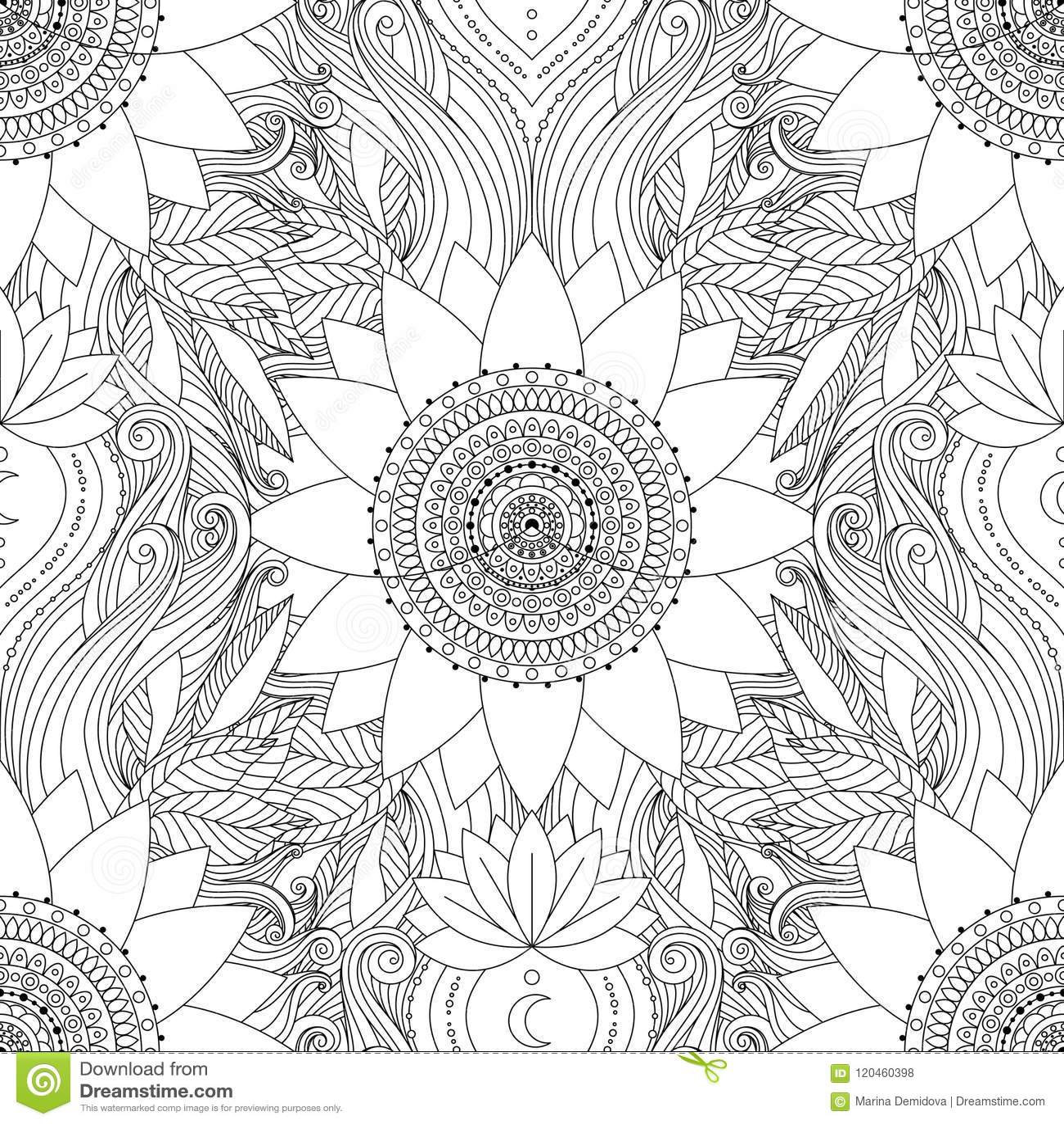 Seamless Pattern Lotus Mandala Stock Vector Illustration Of Floral