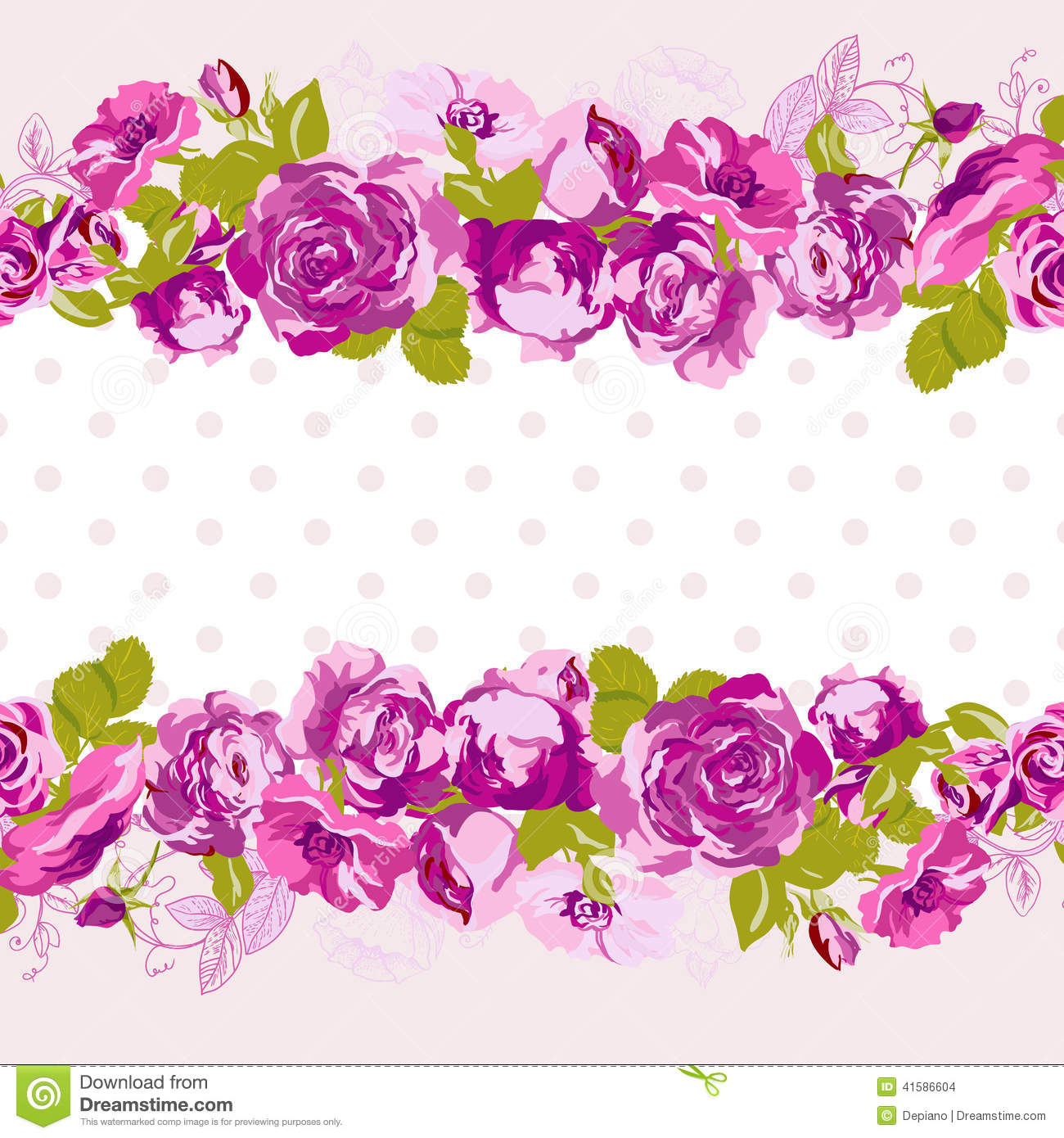 Seamless Border Of Blossom Roses Stock Vector Illustration Of