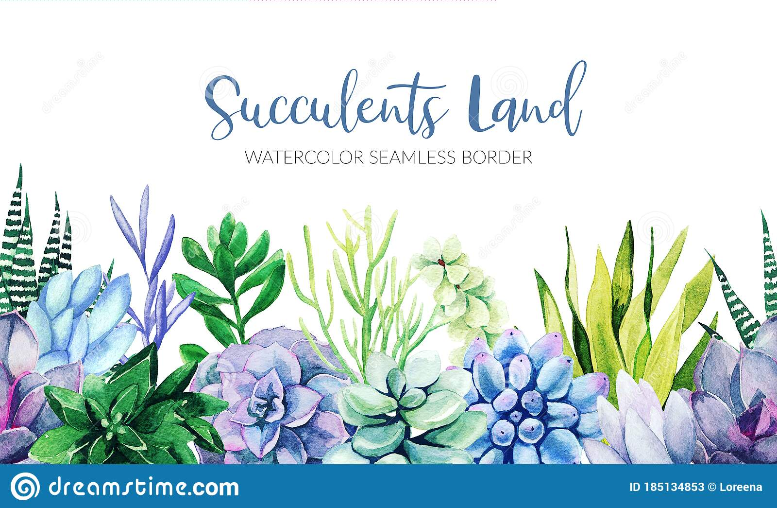 Seamless Border Composed Of Green And Blue Succulent Plants Stock Illustration Illustration Of Floral Plant 185134853