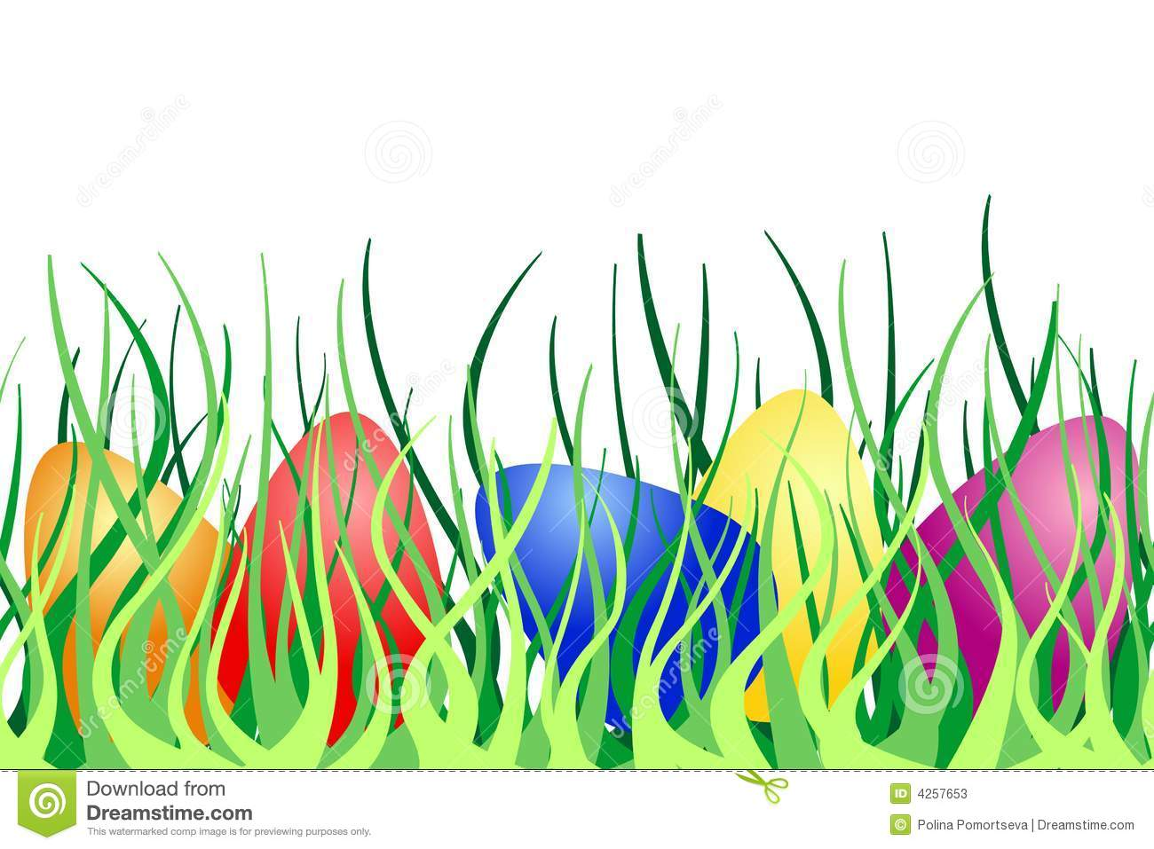 Seamless Border With Easter Eggs On Green Grass Stock