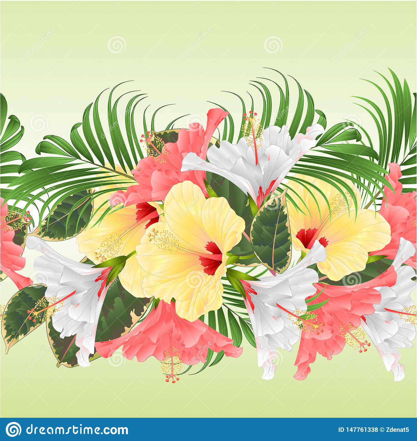 Seamless Border Tropical Flowers Floral Arrangement With Pink White