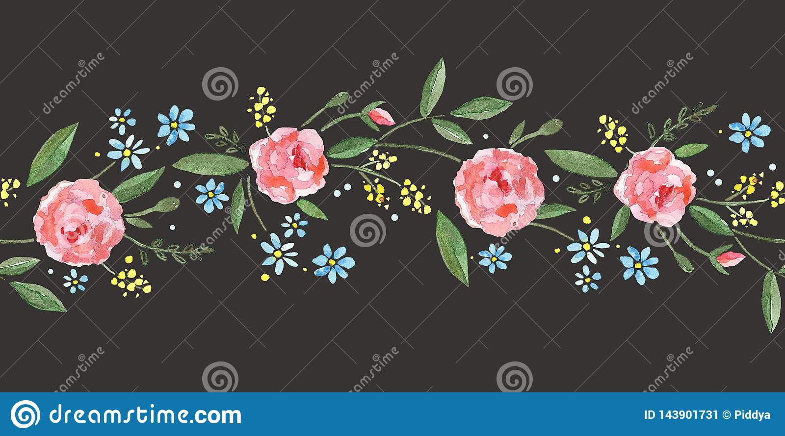 Seamless border with watercolor roses, leaves, branches and small blue flowers