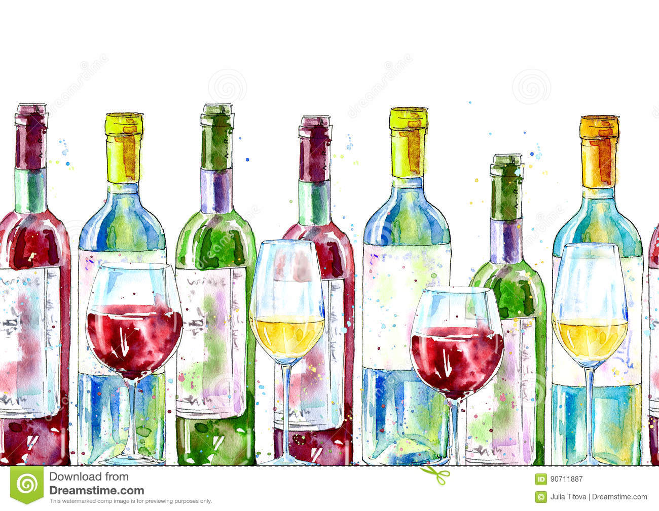 Seamless Border Of A Wine And Glass. Painting Of A Alcohol Drink ...