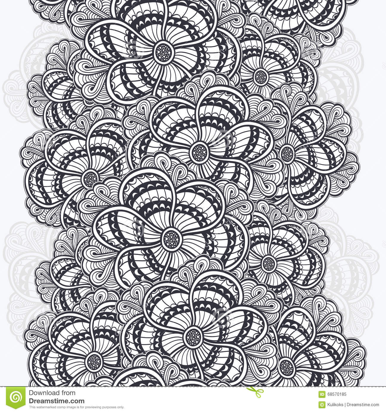 seamless border with zen doodle flowers black on white stock