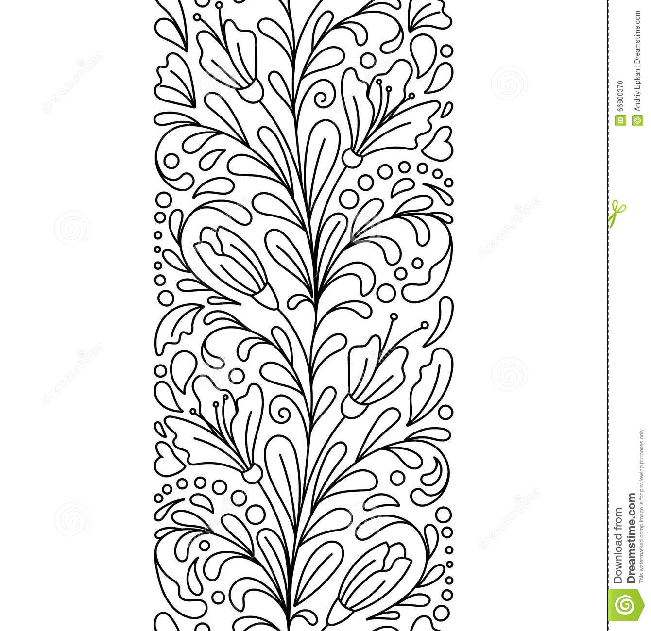 Seamless Borders In Doodle Style Floral Ornate