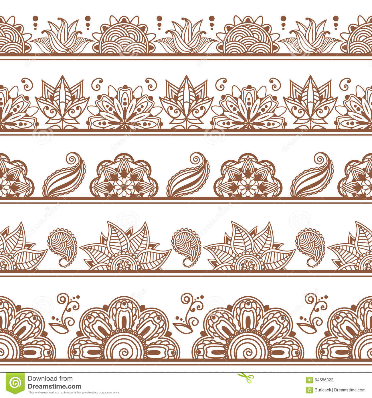 seamless borders or patterns in indian style with stock