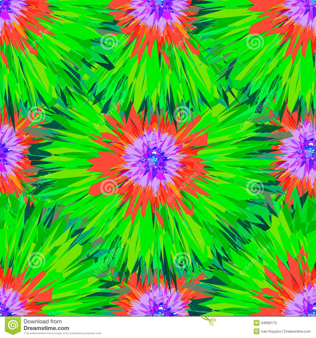 Seamless Bright Colors Tropical Floral Pattern Stock