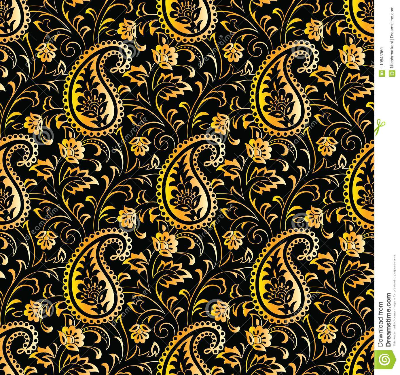 Seamless Bright Yellow Paisley Wallpaper On Black Background