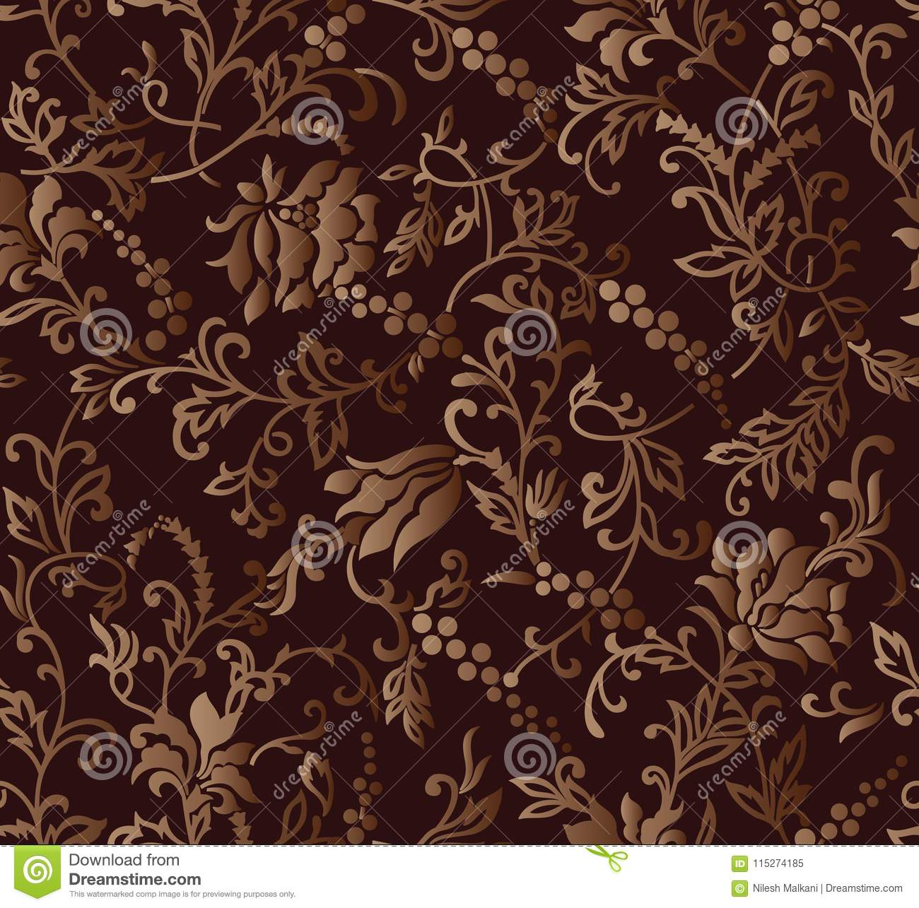 Seamless Brown Rich Floral Wallpaper Design Stock Vector