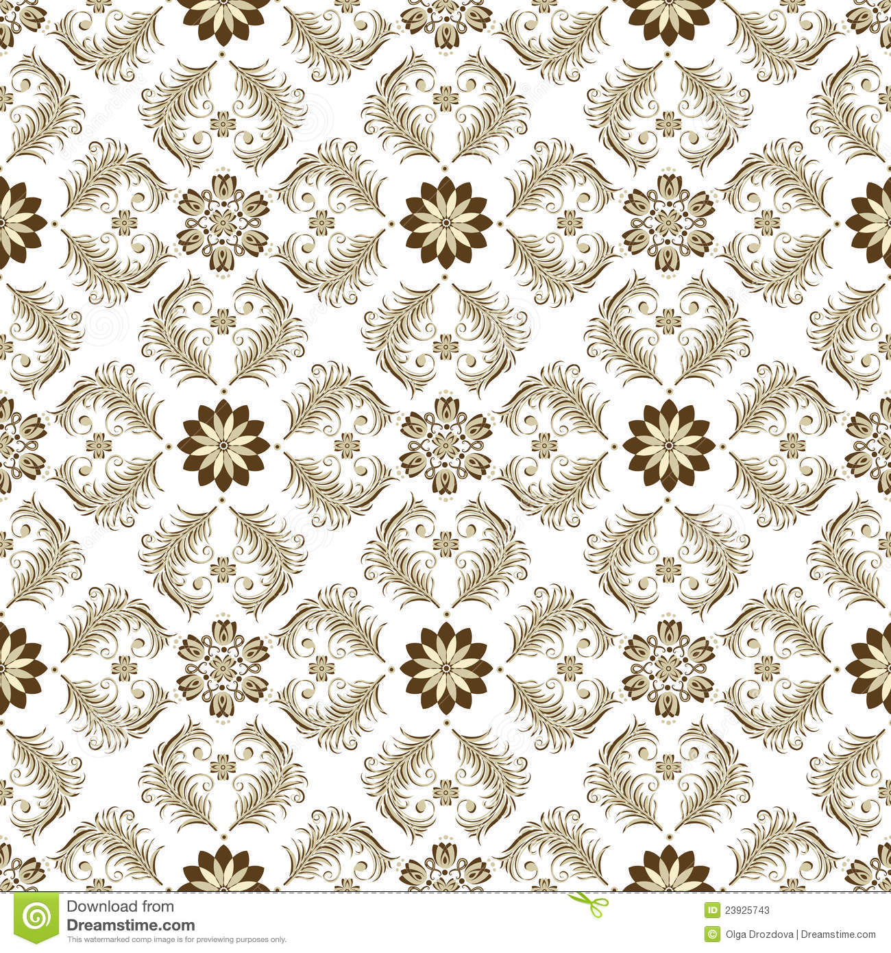 Seamless Brown White Vintage Pattern Stock Vector Illustration Of