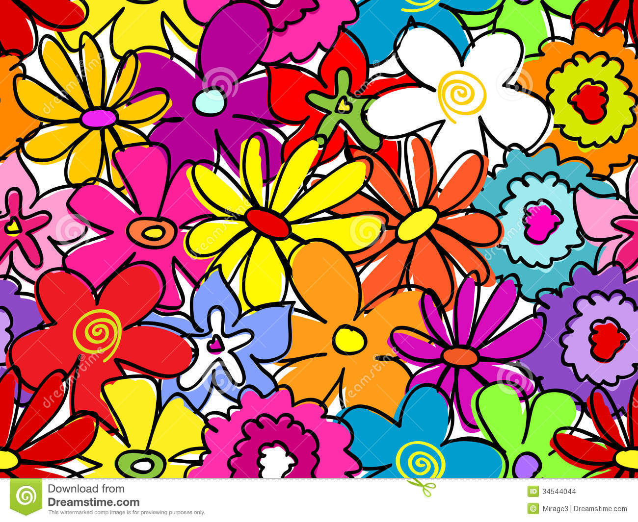 Seamless Busy Flower Pattern Stock Images Image 34544044