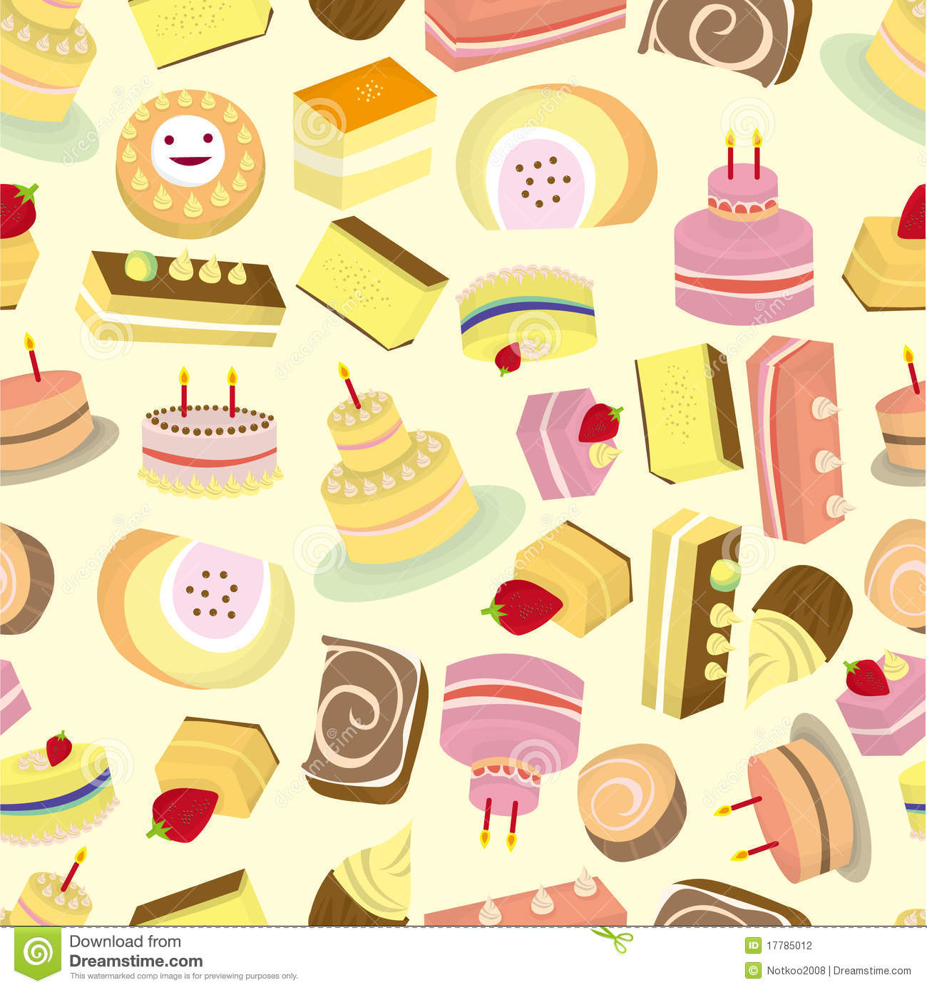 Design Patterns Of Cake : Seamless Cakes Pattern Stock Photography - Image: 17785012
