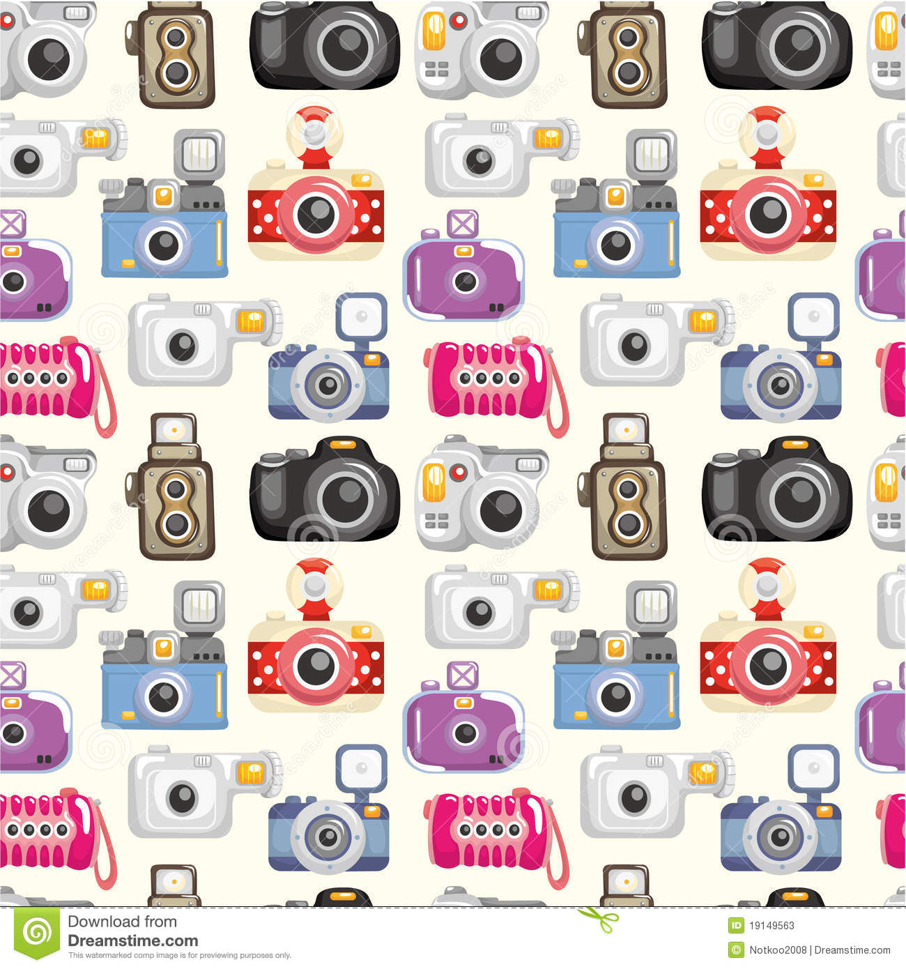 Seamless Camera Pattern Stock Vector Illustration Of Comic
