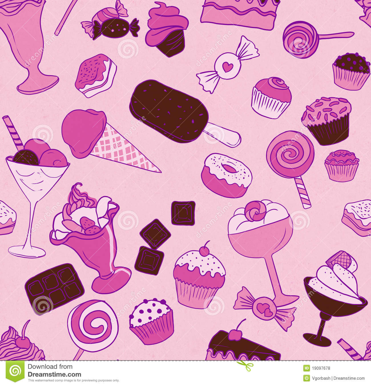 Seamless Candy Pattern Stock Illustration Image Of Cherry
