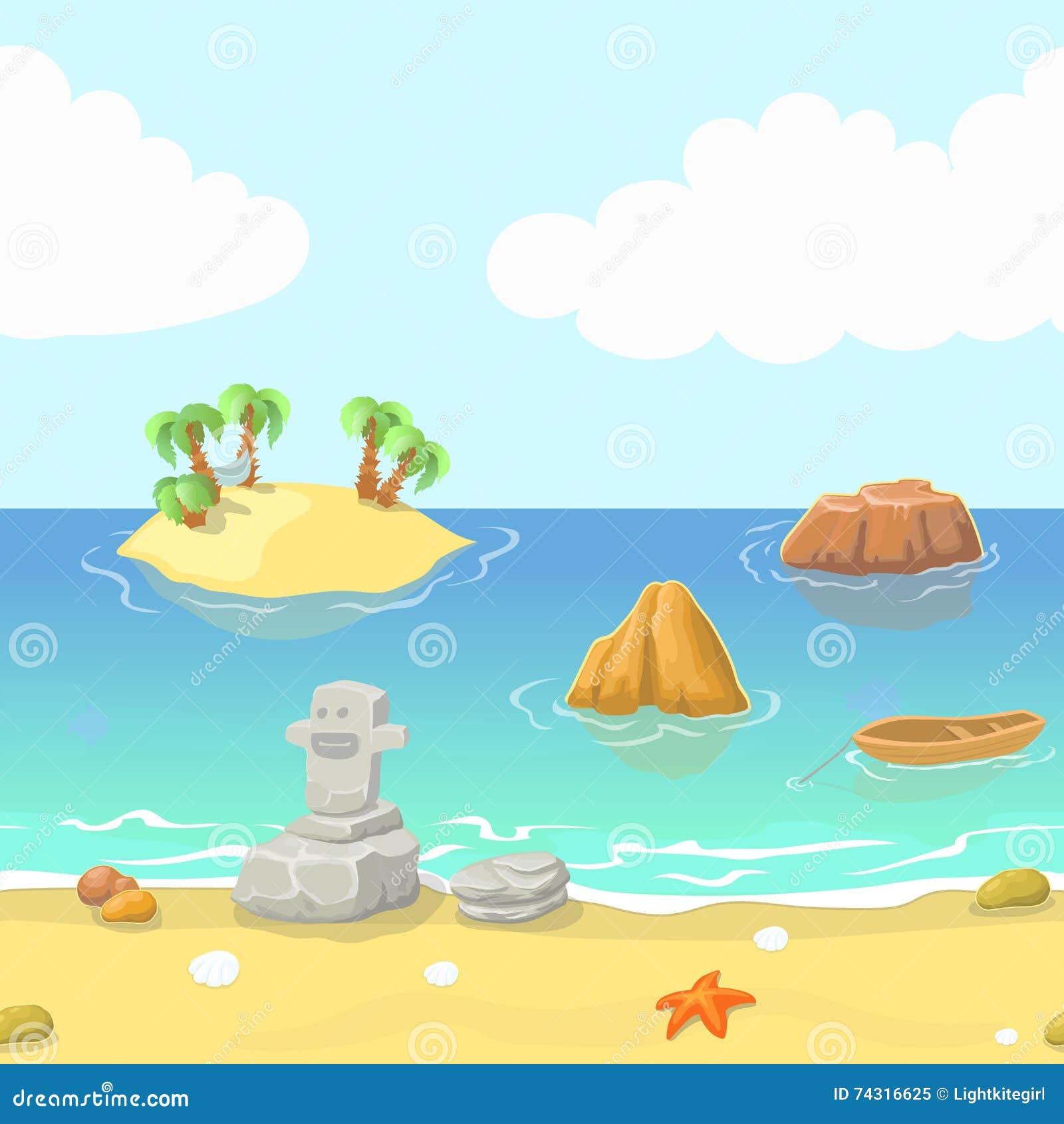 Seamless Cartoon Beach Landscape With Island, Ocean And