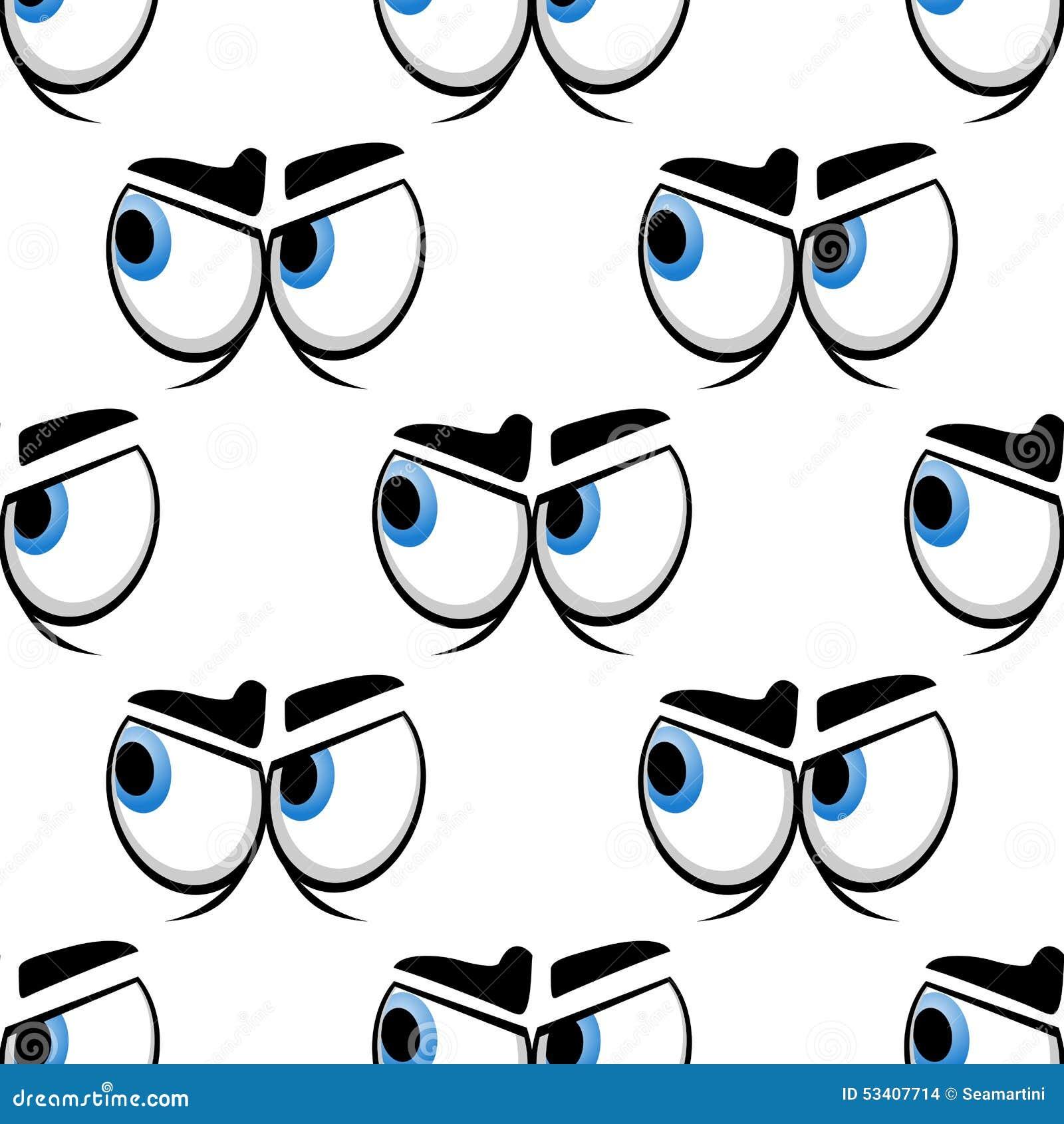 seamless cartoon blue eyes pattern stock vector image