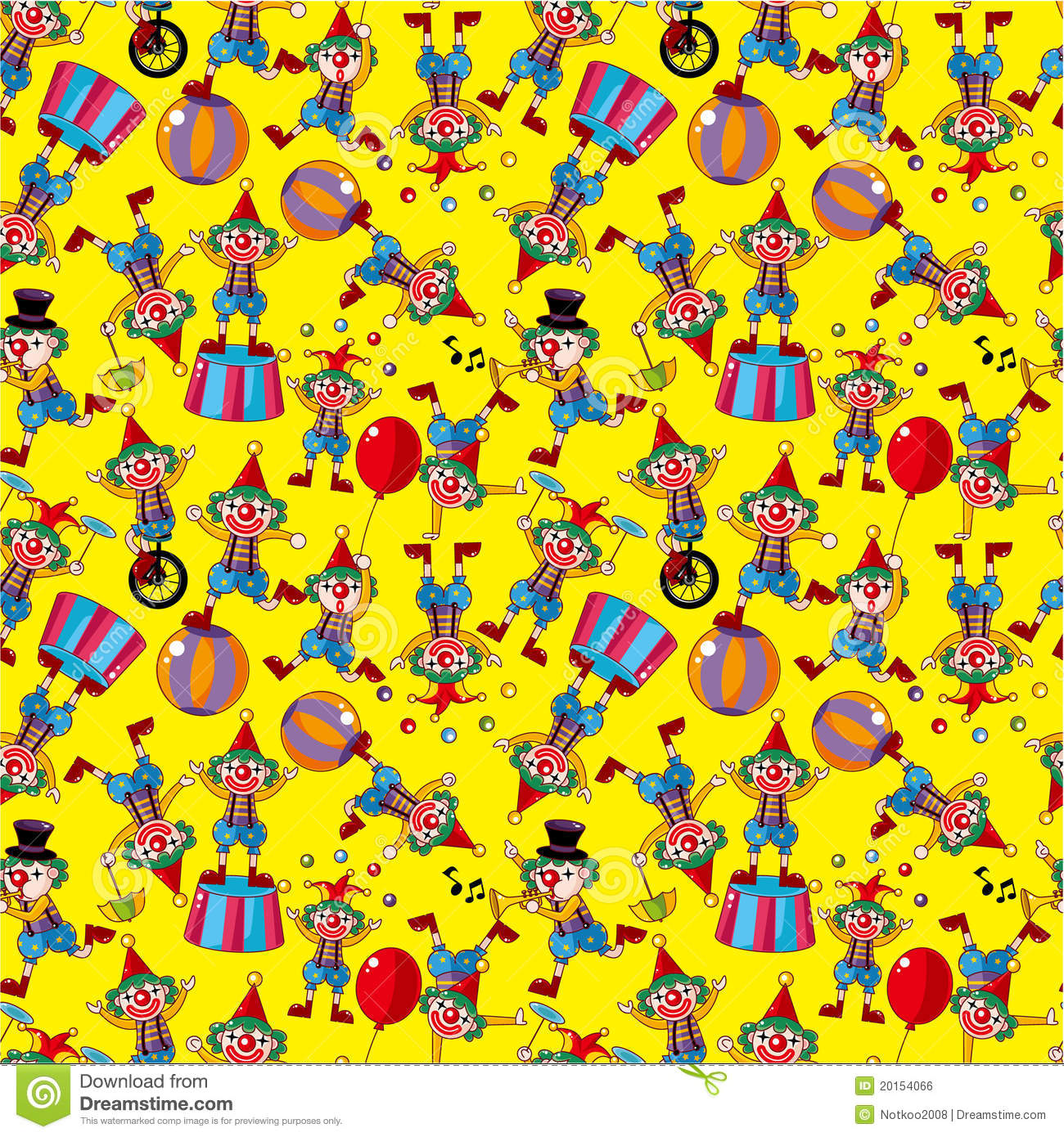 Seamless Cartoon Circus Clown Pattern Royalty Free Stock
