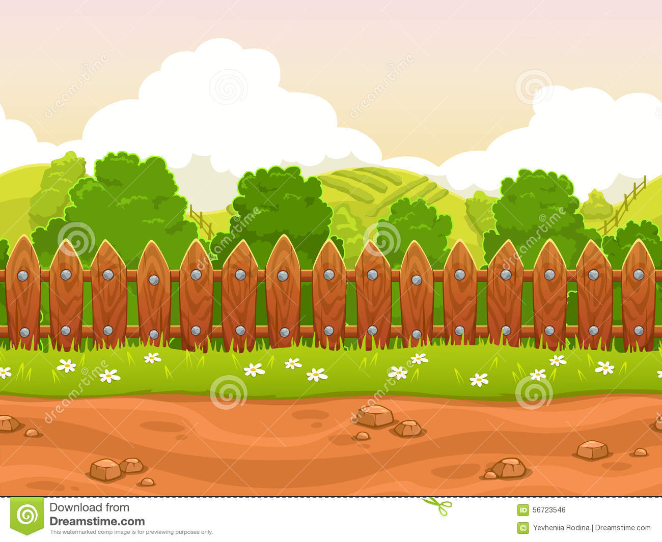 Seamless cartoon country landscape