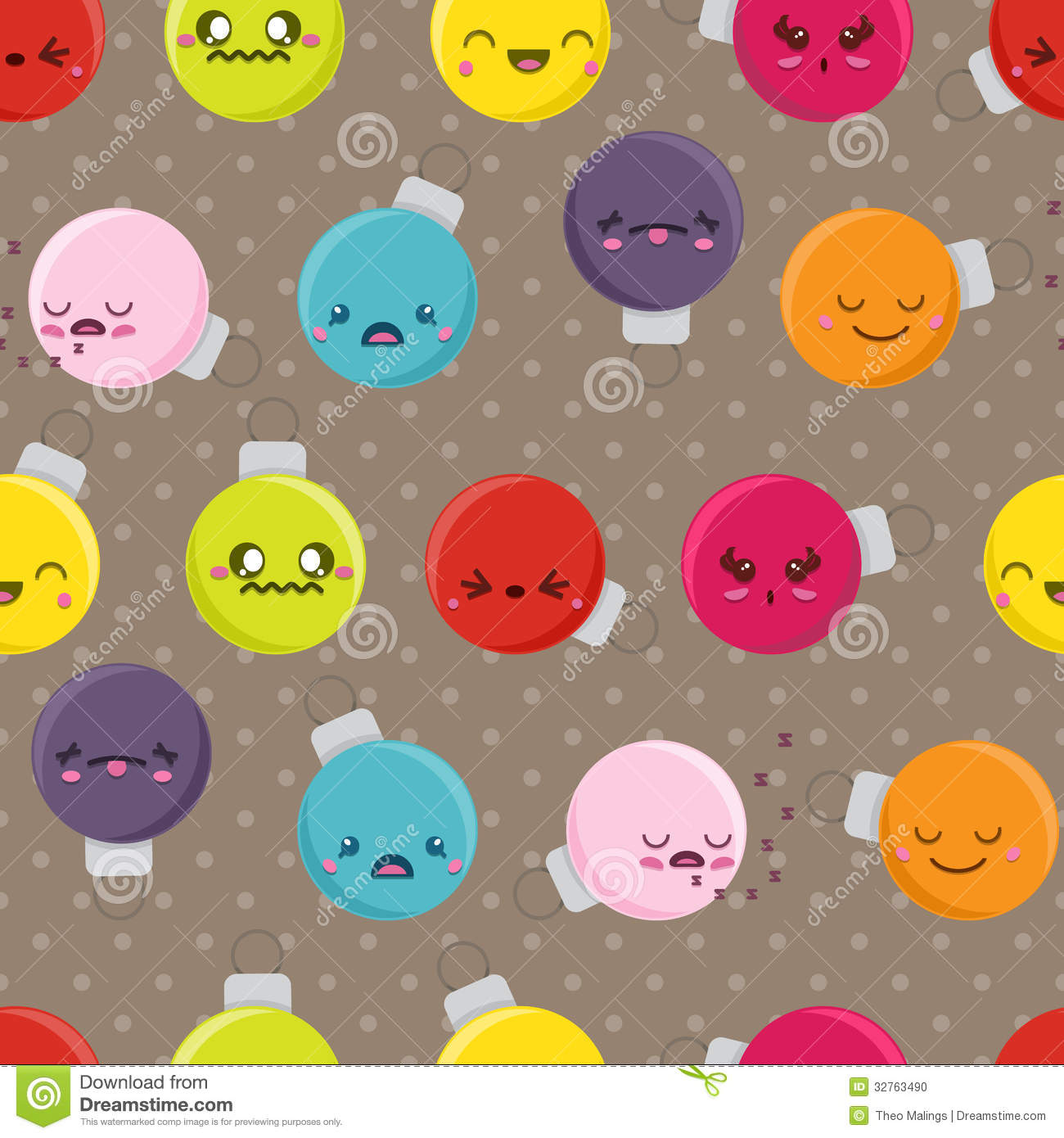 Seamless Cartoon Kawaii Bauble Background Stock Photo - Image ...