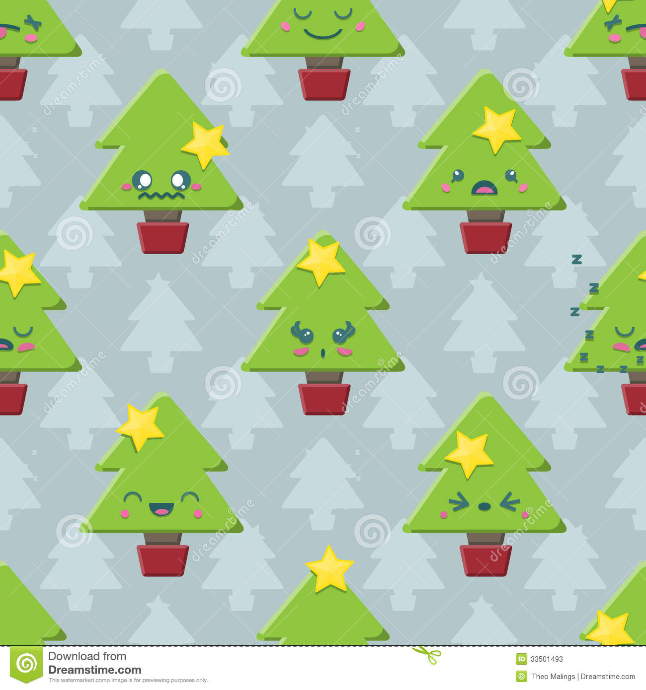 Seamless Cartoon Kawaii Christmas Tree Background Stock Vector ...